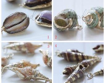 2 Pieces / Shell / Real Sea Snail / Charm / Semiprecious Stone