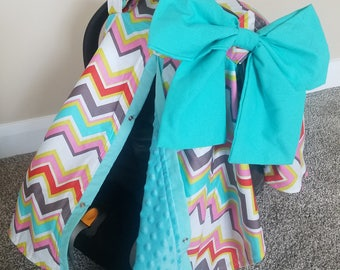 Car seat Canopy Chevron Minky carseat canopy / car seat cover / car seat tent / infant car seat / nursing cover