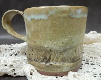 Stoneware pottery slab mug with cream glaze and black stains, earthy, rustic, primitive, 10 ounce mug….#4572