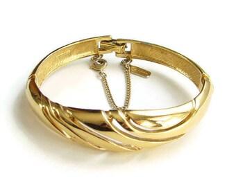 Monet Designer Gold Tone Bracelet Double Hinge Geometric Cut Out Signed