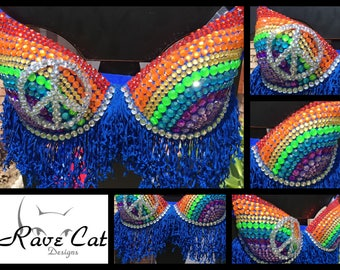 Peace Sign Rainbow Rave Bra - Perfect for any Rave Outfit, edm Bra, Festival Bra, edm Outfit, Rave Wear, EDC Bra, EDC Outfit, or EDC Costume