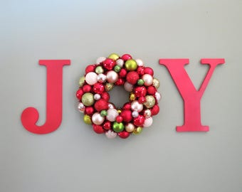 Christmas Ornament WREATH in a WORD  JOY Wall Decor Red Lime Pearl