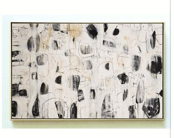 abstract painting  black/creme original painting by jolina anthony