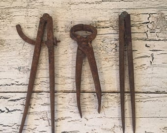 Lot of Vintage rusty  tools and Calipers - Rustic, Darkened Drafting Tools - Instant Collection