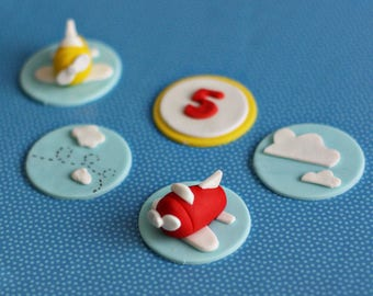 Fondant Airplane, Cloud and Age Toppers for Birthday Cupcakes, Cookies or Mini-Cakes