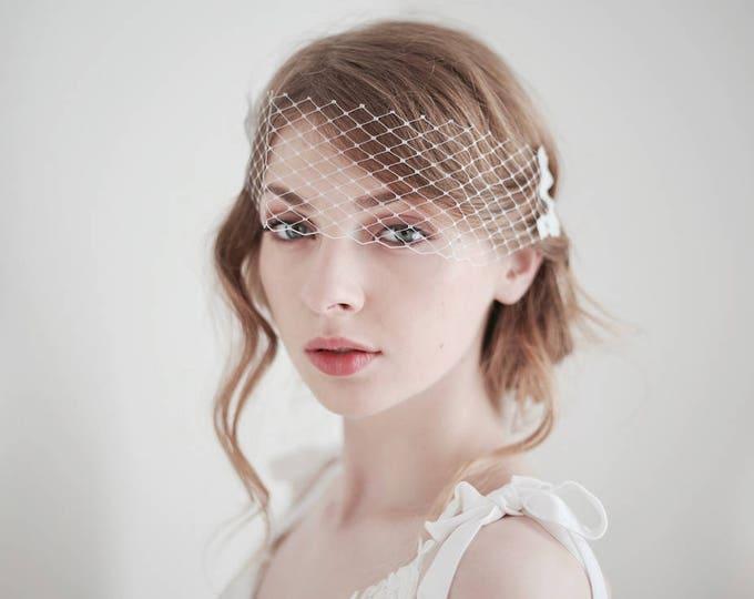 Bridal Birdcage Veil, Mini Bridal Veil, Lace Veil, Lace on Veil, Bandeau Veil, Wedding Veil, Bird Cage Veil, Short Bridal Veil