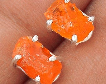 IDEAL COLOR Mexican Fire Opal Stud Earrings. Solid Sterling Silver. 3474