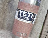 Glitter Yeti Cup Tumbler Stainless Steel 20 oz YETI Rambler Solid Rose Gold Pink Gold