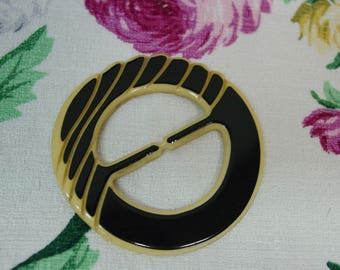"""Vintage Antique Buckle Slide Sturdy Early Plastic Black and Light Yellow 3"""""""