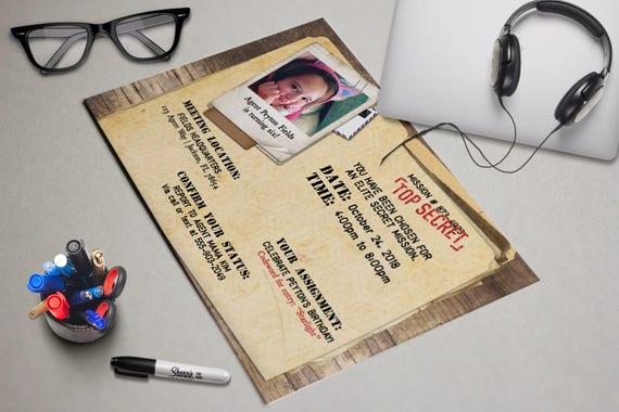 Secret agent printable birthday party invitation cia secret top il570xn filmwisefo