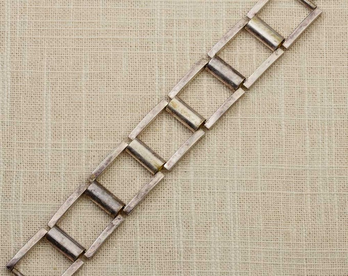 Squares Vintage Bracelet Silver Tone Chunky Chain Costume Jewelry 16S