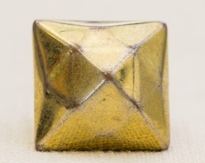 Dimensional Gold Vintage Ring Large Chunky Geometric Mirrored US Womens Size 9 7RI