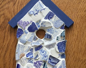 Mosaic wooden birdhouse decoration