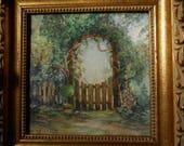 Original Garden Gate Framed, Under Glass Painting OOAK Gold Leaf Frame