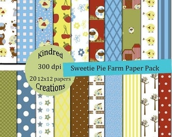 99 Cent Sale Sweetie Pie Farm Digital Paper Pack 300 dpi 12x12 20 papers For Invitations Announcements Personal or Small Business Use