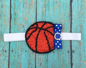Basketball Headband | Blue and White Basketball Headband | Newborn-Adult Customize Your Colors to Match Your Favorite Team