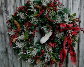 Winter Wreath , Farmhouse Wreath , Winter Door Wreath , Wreath , Holiday Wreath , XL Christmas Door Wreath , Christmas Decor ,  Door Decor
