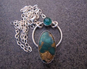 Turquoise and Jade Sterling Silver Necklace