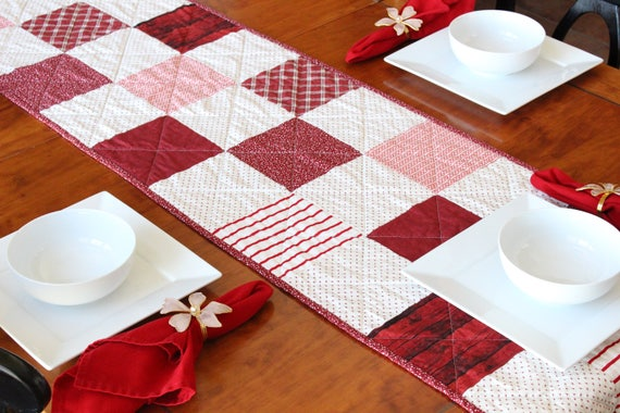 Red White Christmas Quilted Patchwork Table Runner