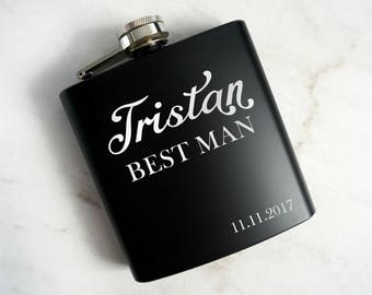 Custom Flask, Groomsman Flask, Best Man Flask, Personalized Flask, Wedding Party Gift, Personalized Flask, Hip Flask, Engraved Flask