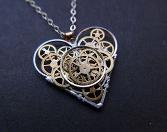 "Watch Gear Heart Necklace ""Ives"" Steampunk Pendant Industrial Clockwork Mechanical Gear Love Gift Wife Girlfriend Christmas Gift Present"