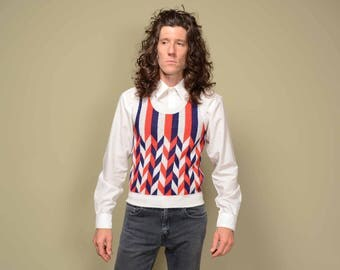 vintage 60s 70s sweater vest Campus Expressions red white blue stripe op art 1960 1970 chevron pattern S small