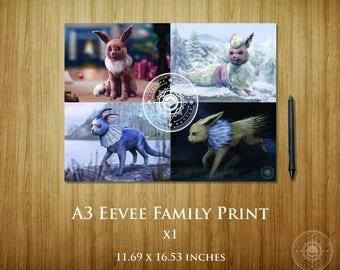 Eevee Family Split A3 Poster