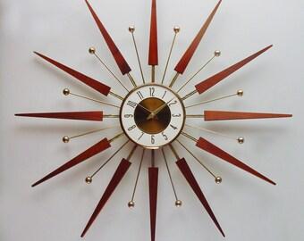 Starburst Clock by Elgin, Mid century Sunburst Wall Clock 1960s Clock, Atomic Era Design COUPON CODE 00625
