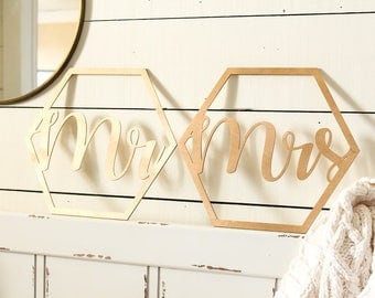 Honeycomb Mr Chair Sign Mrs Chair Sign Mr and Mrs Chair Sign Set Rustic Wedding Honeycomb Wedding