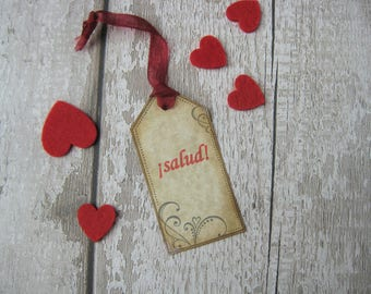Salud Spanish Gift Tag or Label - Christmas - Celebration - Wine - Bottle - Spirit - Present -  Spain - Espana - Cheers - Party Gift