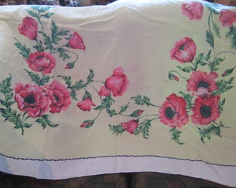 """vintage tablecloth poppies? 64"""" by 50"""" great condition beautiful"""