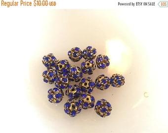 SUMMER SALE Wonder Vintage Lot of Brass Ball Blue Rhinestone Beads