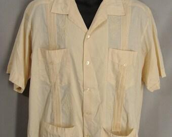 as-is. Beige Mayalum Guayabera Shirt. Mexican Wedding Shirt. Cuban Shirt. OR Customizable Zombie Costume. Optional Blood. size 46 XL XXL