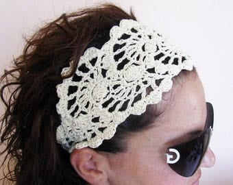 ON SALE 15 % SALE Summer Head Band - Crochet Headband-   Hair Fashion Accessories - handcrochet headband in Ivory Color