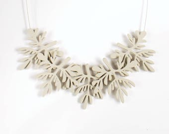 Light Grey Plywood floral necklace