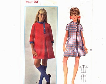 Butterick 4675 Size 14 A-Line Dress With Standing Collar And Off Set Front Slit Vintage UNCUT