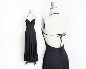 Vintage 1970s Dress - Black Backless Halter Full Length Maxi Dress 70s - Small