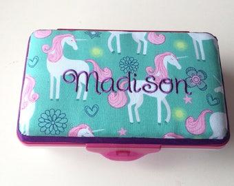 Personalized Kids School Pencil Box Case Unicorn Pony Horse Rainbow