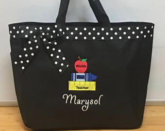 Personalized Monogrammed Teacher School Book Tote Bag Apples & Books