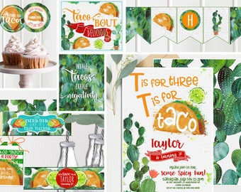 Taco Party third 3rd Birthday - cactus Invitations and Decor - Orange Green - Third Birthday Party - Printable Instant Download