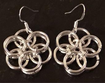 Six Petaled Chainmaille Silver Flower Earrings