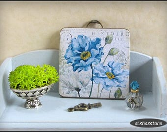 12th scale miniature wall sign, blue flowers, shabby cottage chic decor, dollhouse miniature sign