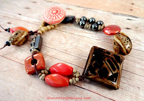 Boho Hippie Chic Mixed Bead Bracelet in Brown, Orange and Gray