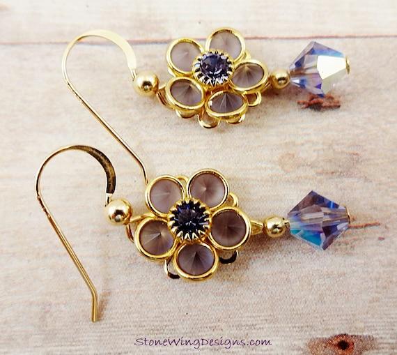 Swarovski Crystal Flower Earrings in Gold and Tanzanite