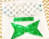 Faux leather hairbow READY to SHIP DIY 3.5 inches set of 2 shamrocks with emerald glitter set of 2