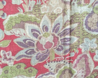 """Antique French Linen Fabric Chinoiserie 37""""W x 75""""L"""