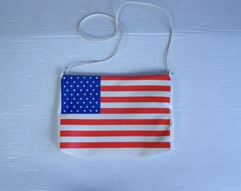 vtg 80s AMERICAN FLAG Shoulder BAG crossbody hipster Patriotic Americana vinyl indie festival purse