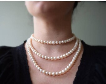 SHIPPING DELAY SALE 10% Triple Strand Genuine Pearl Necklace, 18th Century Pearl Necklace, Georgian Pearls, Reproduction Jewelry, Rococo Nec