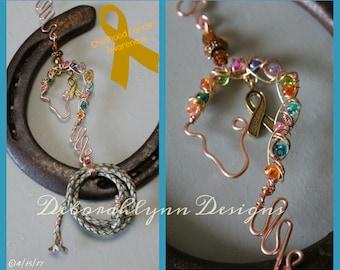 Horse Suncatcher, CANCER AWARENESS, Childhood Cancer, horse lover gift, crystal suncatcher, wire horse, window decoration,