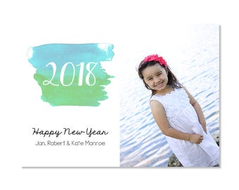 Watercolor New Year Photo Card